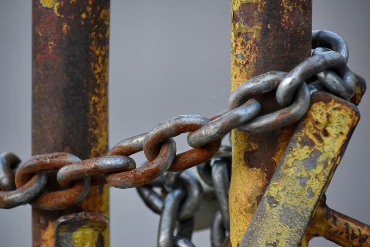 铸铁, 栅栏, 铁, 安全, 钢, 链, 强度, 附件, 锈, 安全