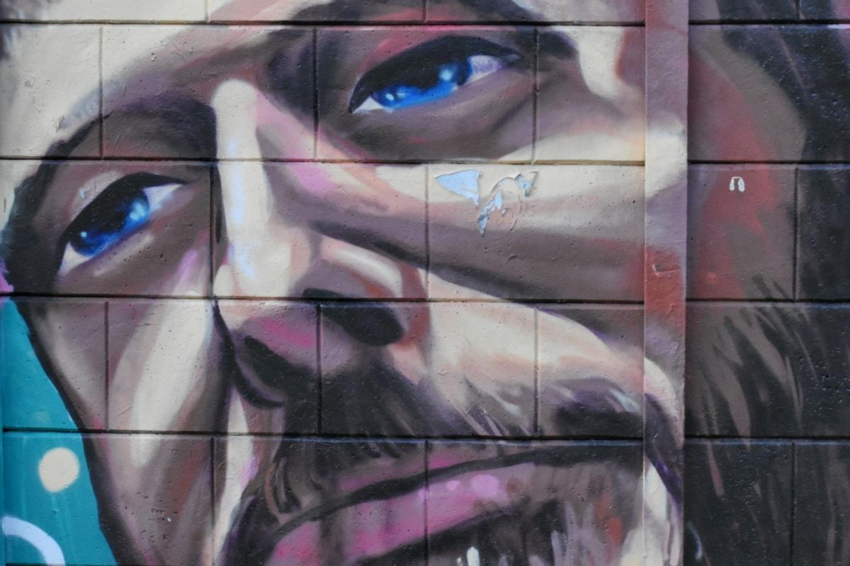 adam, Bıyık, portre, vandalizm, grafiti, soyut, sanatsal, sprey, Sanat, Tasarım