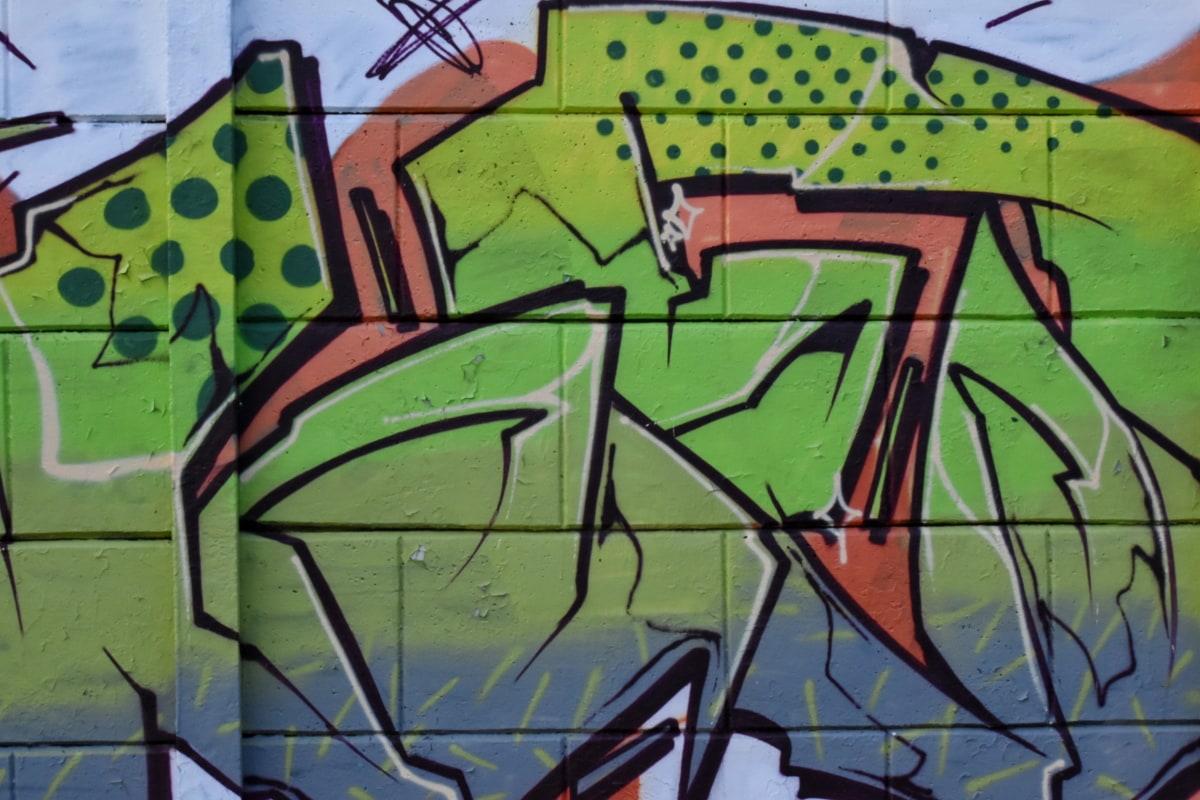amarelo esverdeado, assinatura, vandalismo, grafite, decoração, arte, pulverizador, aerógrafo, parede, ilustração