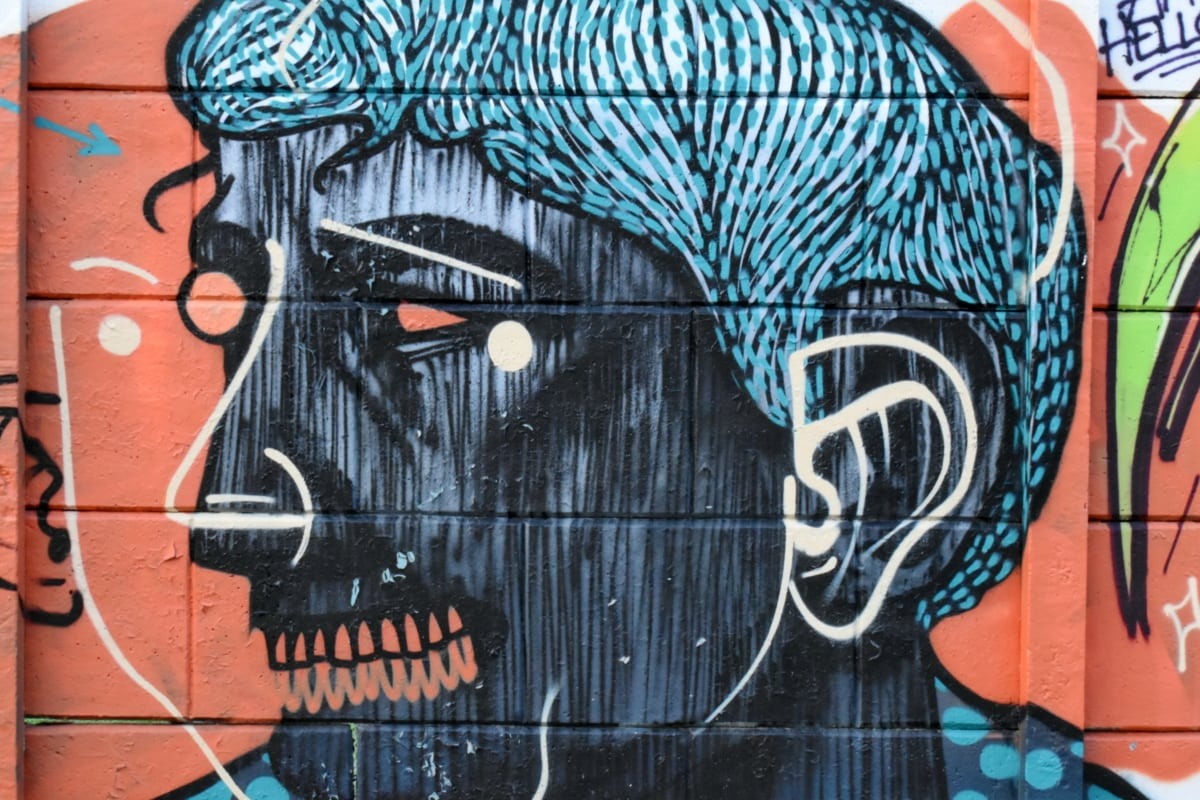 potret, wanita, grafiti, vandalisme, kreativitas, seni, dinding, airbrush, jalan, ilustrasi