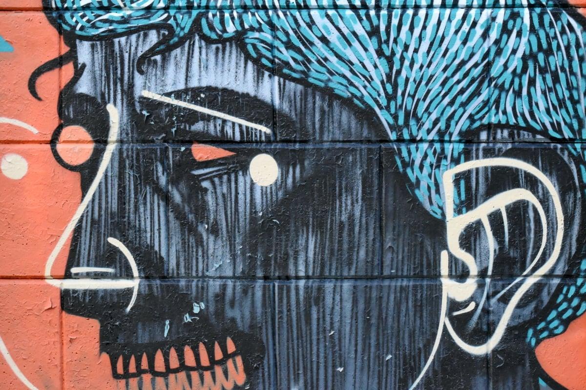 umjetnički, kreativnost, portret, zid, žena, grafiti, alat, vandalizam, umjetnost, dizajn