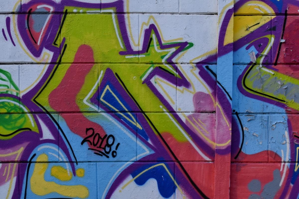 šareni, zid, poput zida, grafiti, vandalizam, dekoracija, sprej, zračni kist, umjetnost, umjetnički