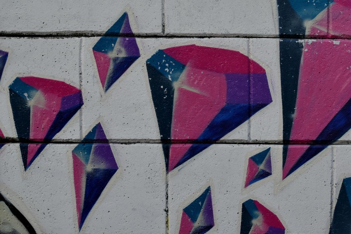 taide, timantti, seinä, graffiti, Tiivistelmä, Ilkivalta, taiteellinen, rakenne, väri, vanha