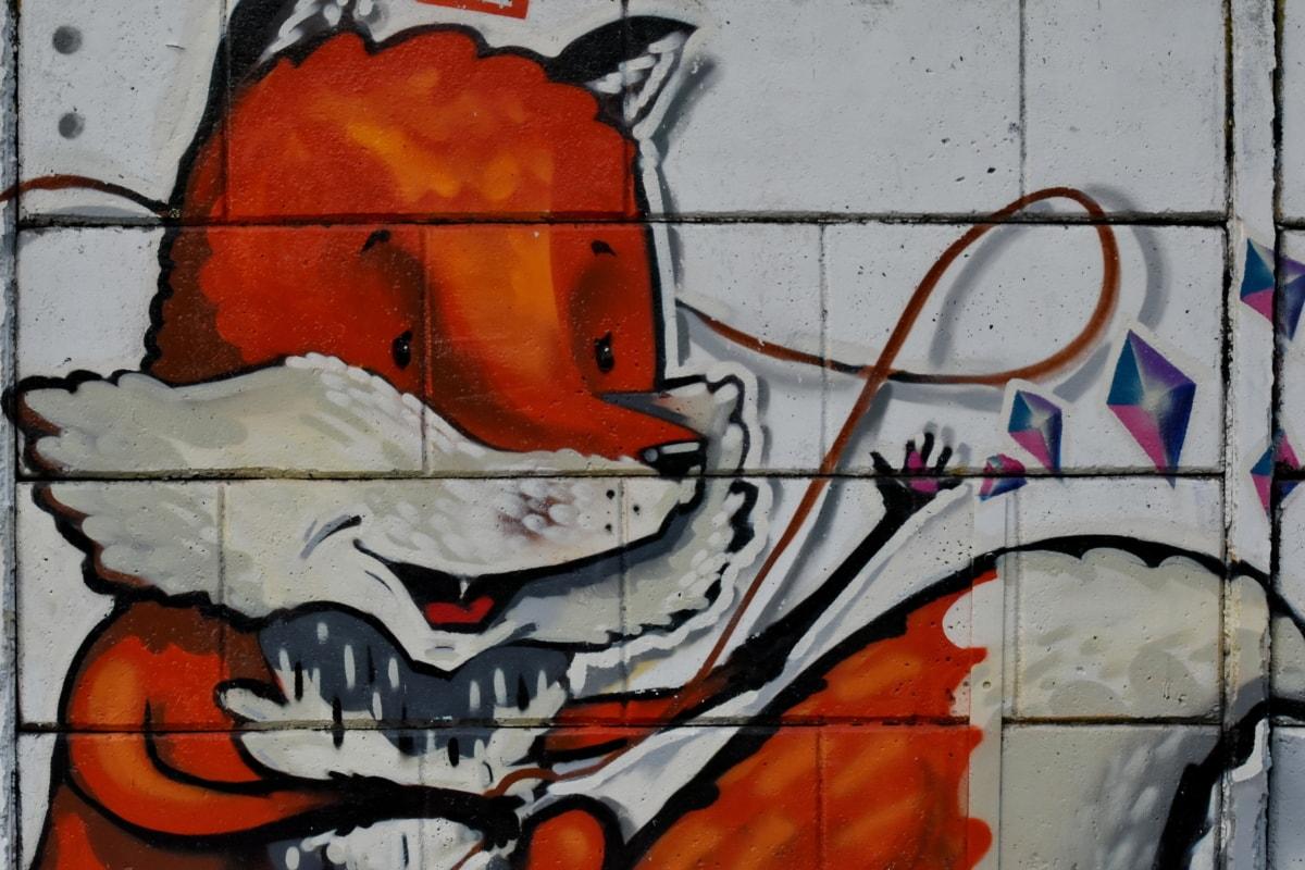 zračni kist, dekoracija, grafiti, ilustracija, crvena lisica, umjetnost, vandalizam, zid, stari, prljavi