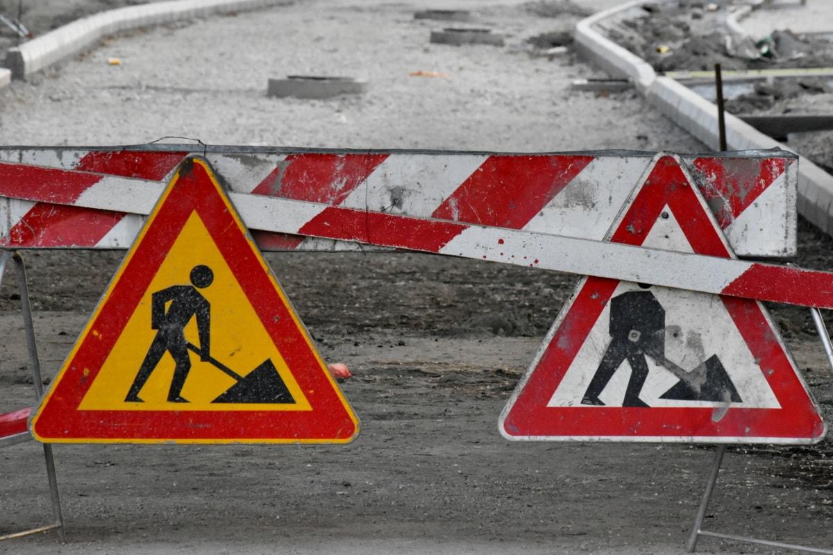construção, sinal, controle de tráfego, Cuidado, perigo, tráfego, aviso, estrada, segurança, rua