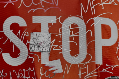 attention, sign, stop, vandalism, graffiti, decoration, design, symbol, pattern, texture