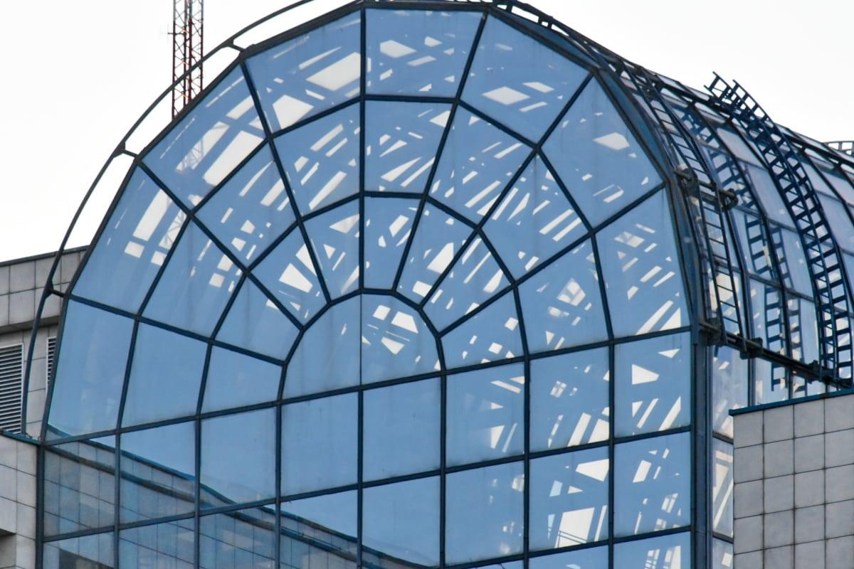 Atrium, futuristinen, heijastus, katto, lasi, kupoli, rakentaminen, arkkitehtuuri, rakenne, ikkuna