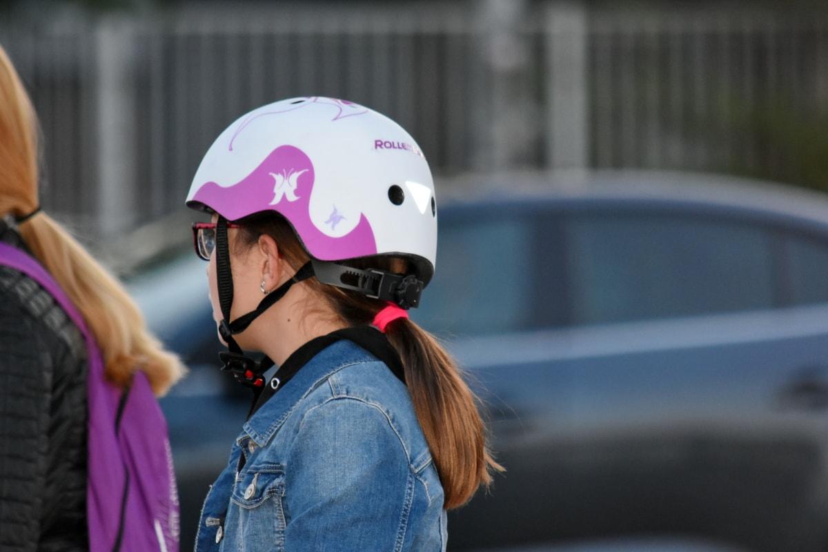 cykel, Glasögon, skolan barn, Skolflicka, idrott, gata, hjälm, porträtt, Utomhus, Flicka