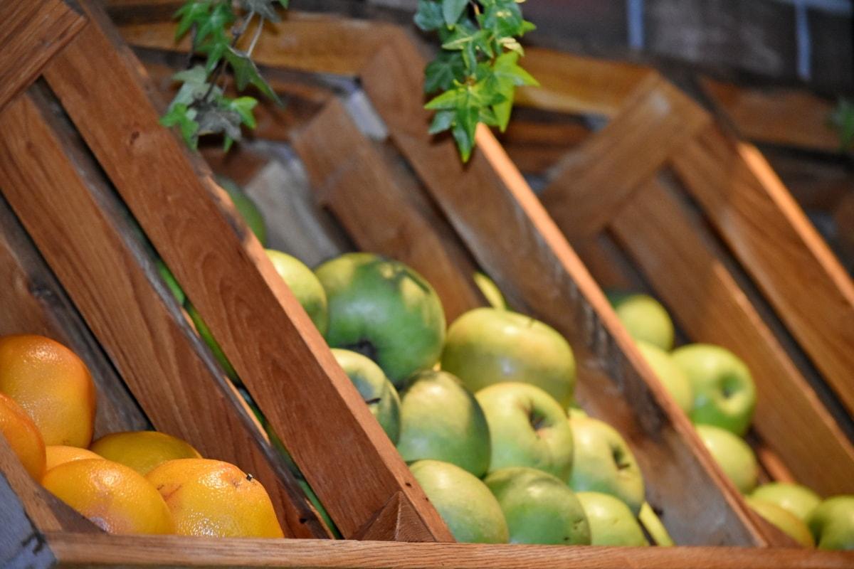 ตะกร้า, ซูเปอร์มาร์เก็ต, ไม้, ผลไม้, ผลิต, แอปเปิ้ล, อาหาร, สด, สุขภาพ, ไม้