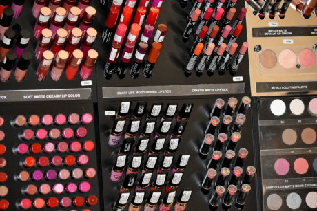 cosmetics, lipstick, powder, equipment, fashion, glamour, merchandise, color, collection, style