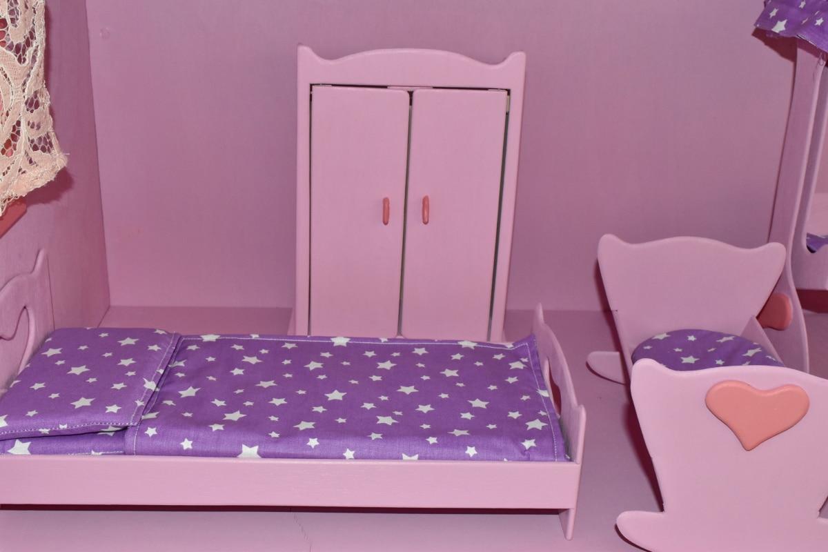 Snickeri, handgjorda, miniatyr, leksaker, rum, möbler, säng, inomhus, sovrum, hus