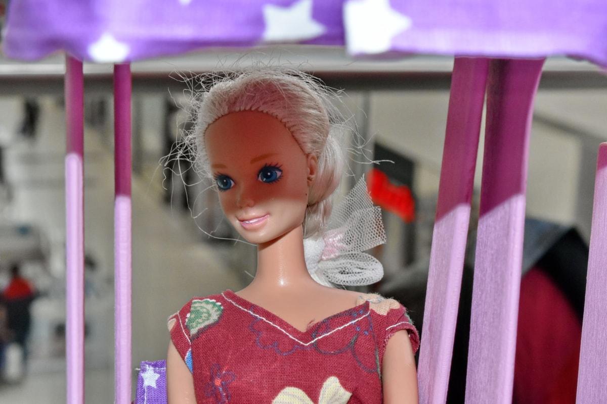 Puppe, attraktiv, schöne, blond, Shop, Kindheit, Stadt, niedlich, Dekoration, dekorative