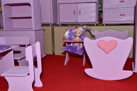doll, miniature, pink, toys, wooden, furniture, room, seat, chair, indoors