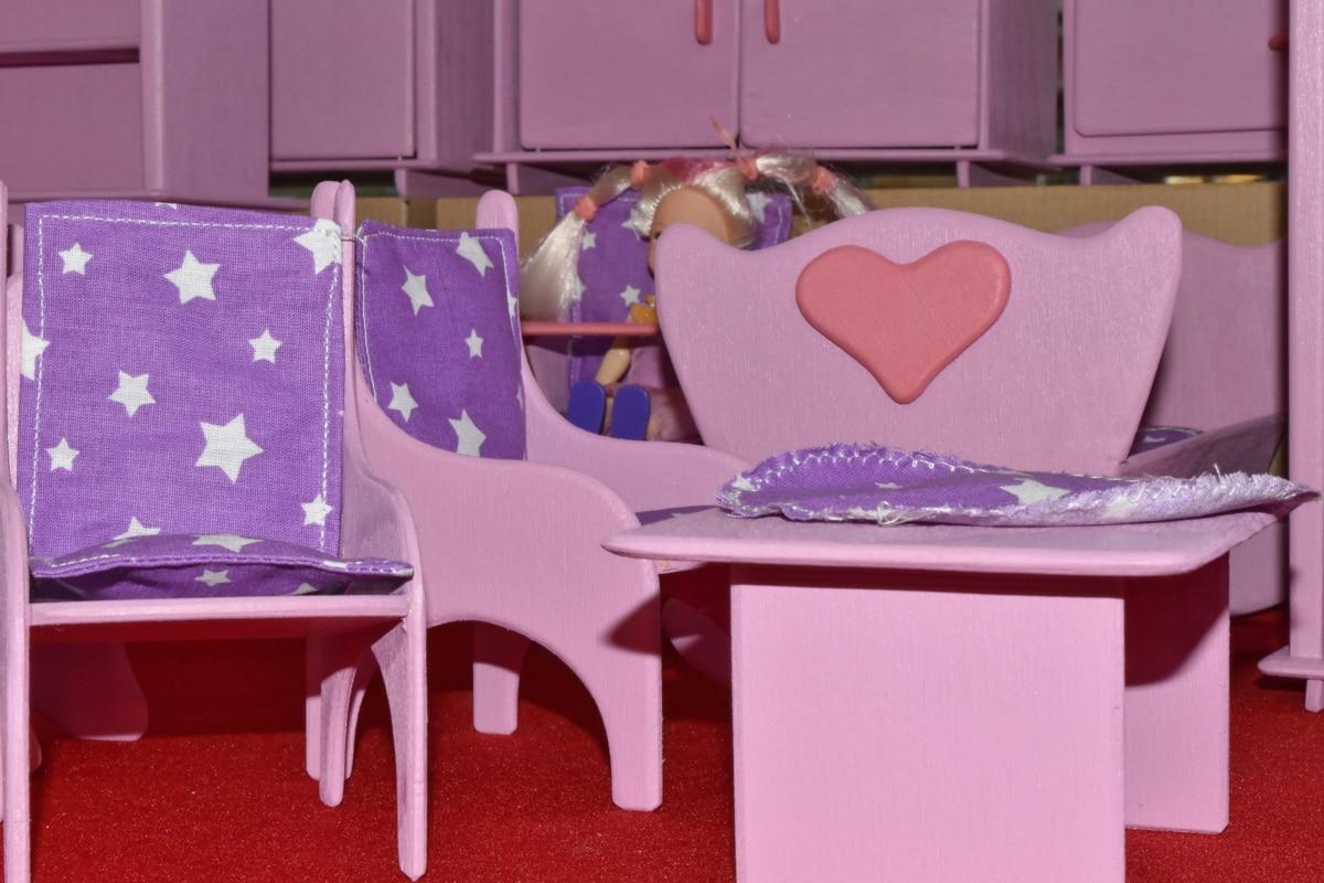 escritorio, muñeca, hecho a mano, juguetes, asiento, Interior, muebles, adentro, silla, habitación