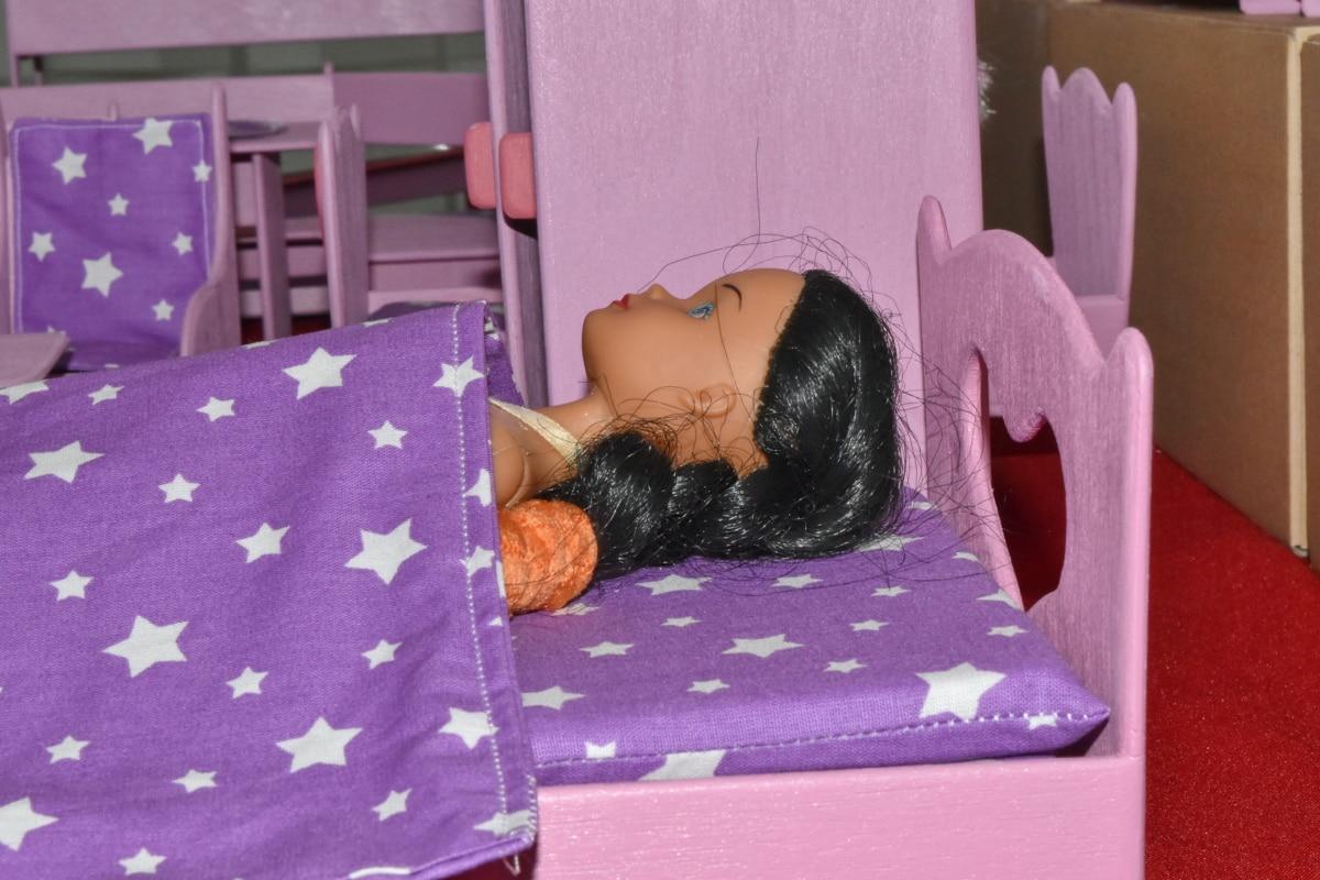hálószoba, baba, Bútor, fekvő, miniatűr, párna, játékok, szoba, beltéri, ágy