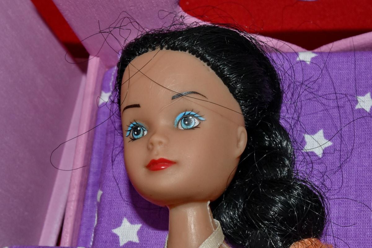 sovrum, docka, miniatyr, plast, Vacker, Söt, dekoration, detalj, Detaljer, öga