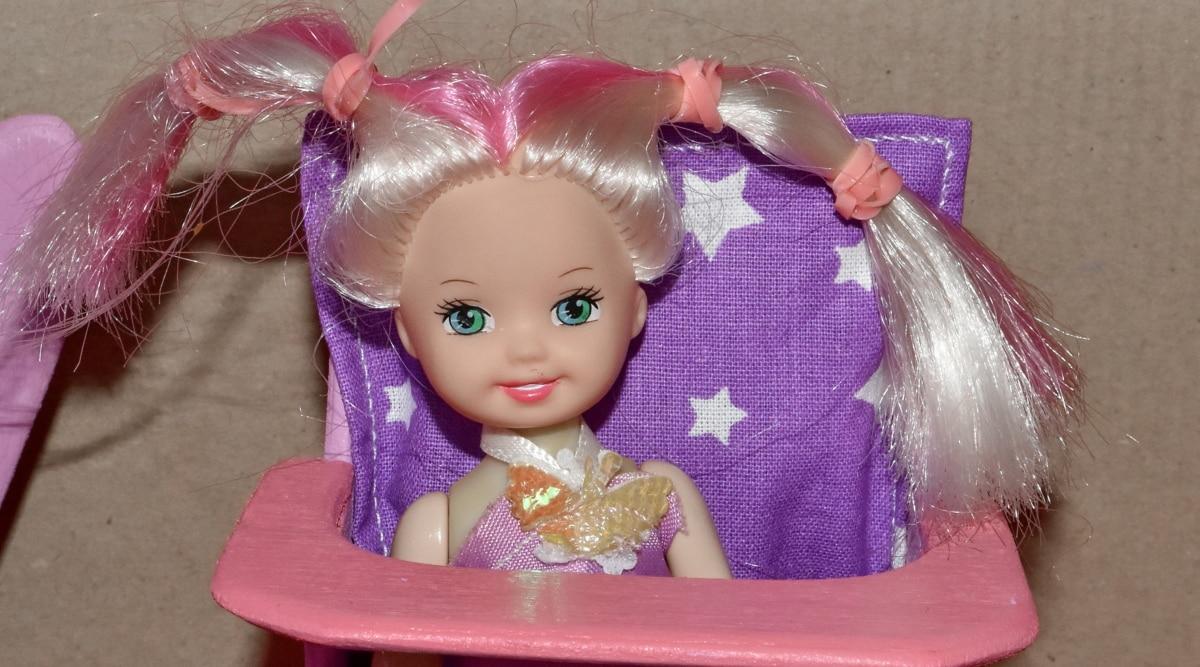 dziecko, blond włosy, lalka, miniaturowe, ładny, Dzieciństwo, mody, Boże Narodzenie, zabawa, ładny