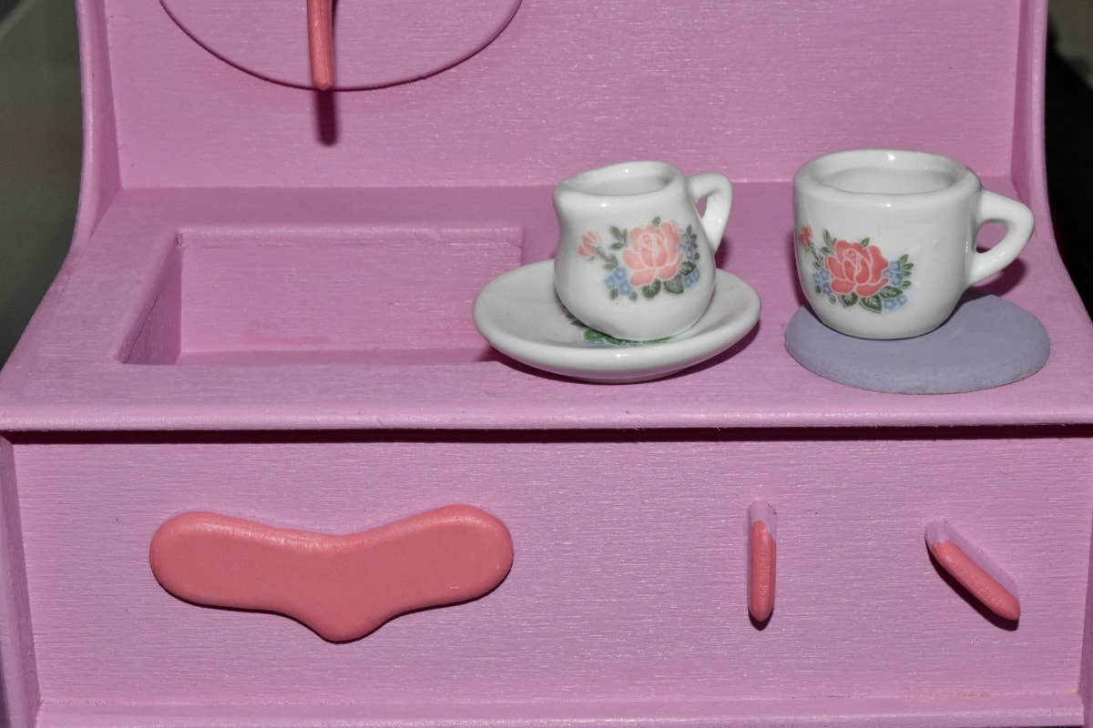 handgefertigte, Teekanne, Spielzeug, Spielzeugladen, Tee, Porzellan, Container, Trinken, Tasse, Still-Leben
