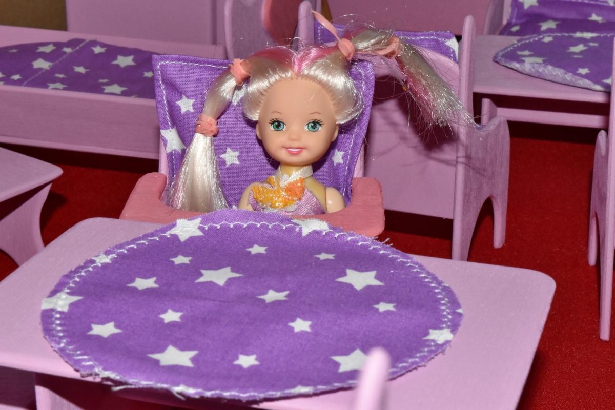bábika, malý, miniatúrne, hračky, hračkárstve, Tabuľka, zábava, nábytok, Izba, milý