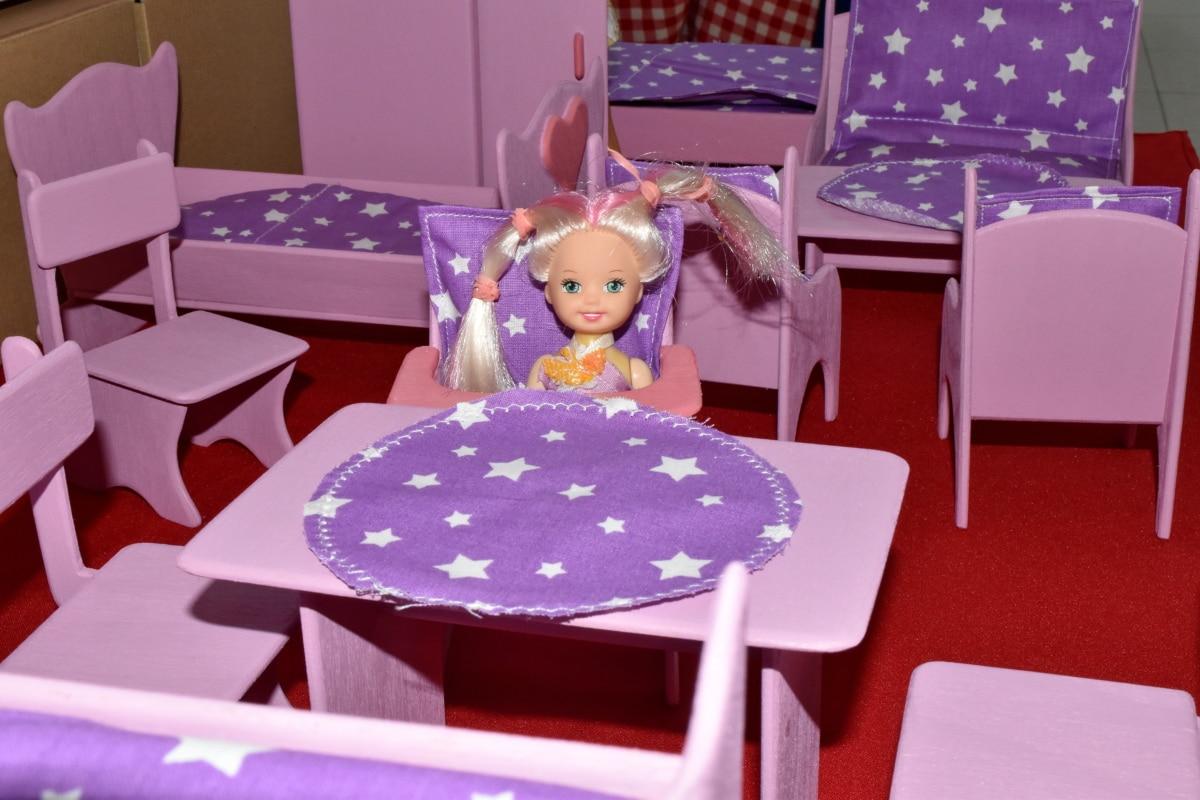 capelli biondi, bambola, mobili, fatto a mano, in miniatura, sedia, sedile, tabella, camera, in casa