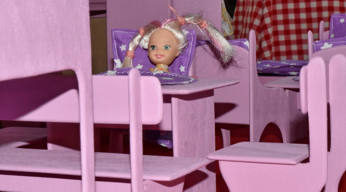 hantverk, docka, möbler, rum, unge, barn, inomhus, stol, tabell, Flicka