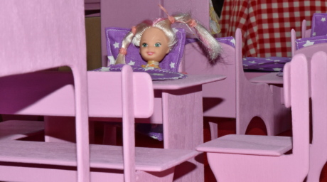 craft, doll, furniture, room, kid, child, indoors, chair, table, girl