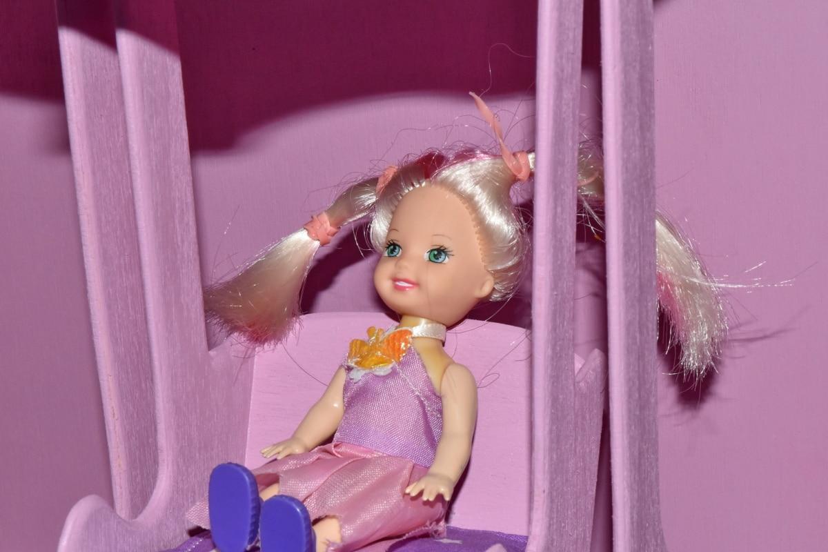 cabelo loiro, boneca, feito à mão, em miniatura, plástico, menina, quarto, dentro de casa, retrato, diversão