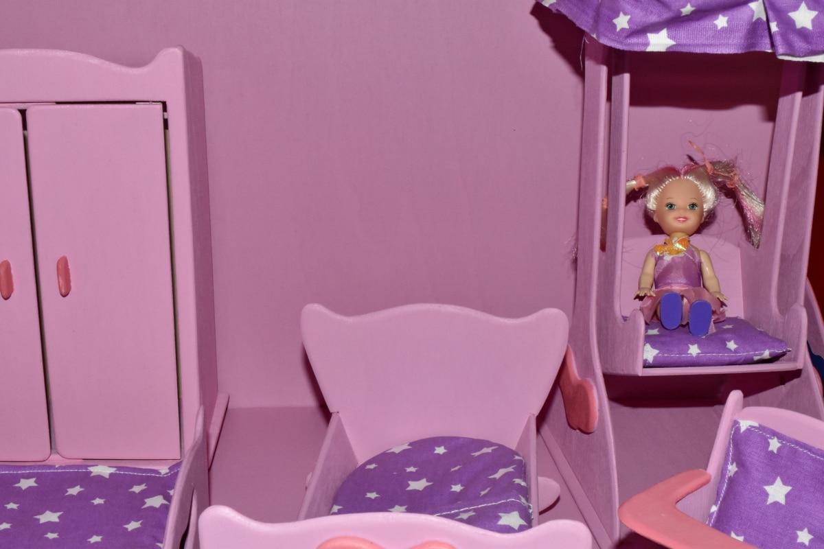 slaapkamer, meubilair, miniatuur, kussen, roze, speelgoed, stoel, huis, stoel, kamer