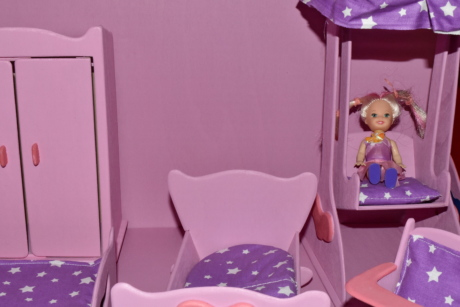 bedroom, furniture, miniature, pillow, pink, toys, chair, home, seat, room