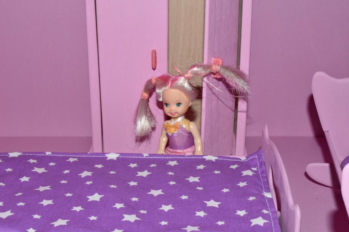 bedroom, blonde hair, furniture, miniature, pink, toys, room, indoors, bed, toy