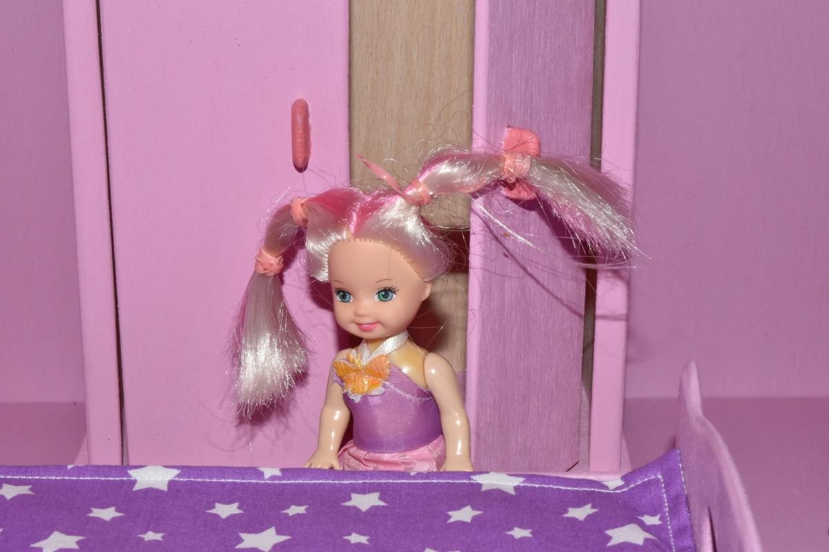 quarto, boneca, sorrir, infância, quarto, dentro de casa, brinquedo, decoração, menina, retrato