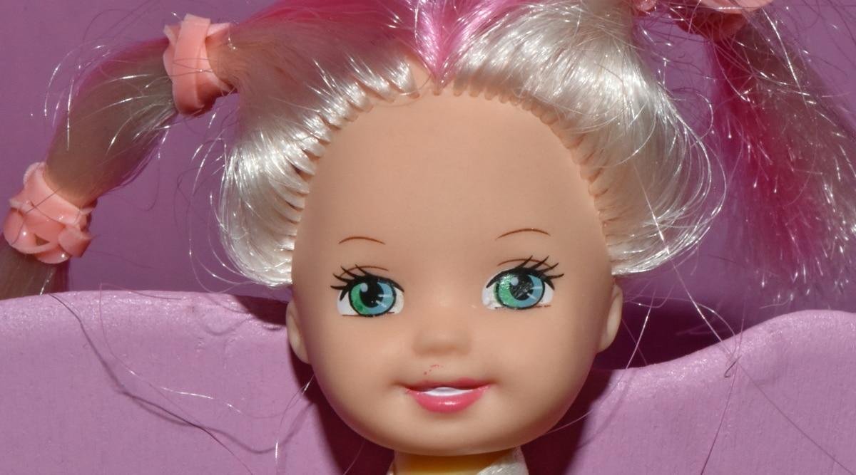 decoração, boneca, olhos, cara, sorrir, retrato, criança, menina, linda, bonito