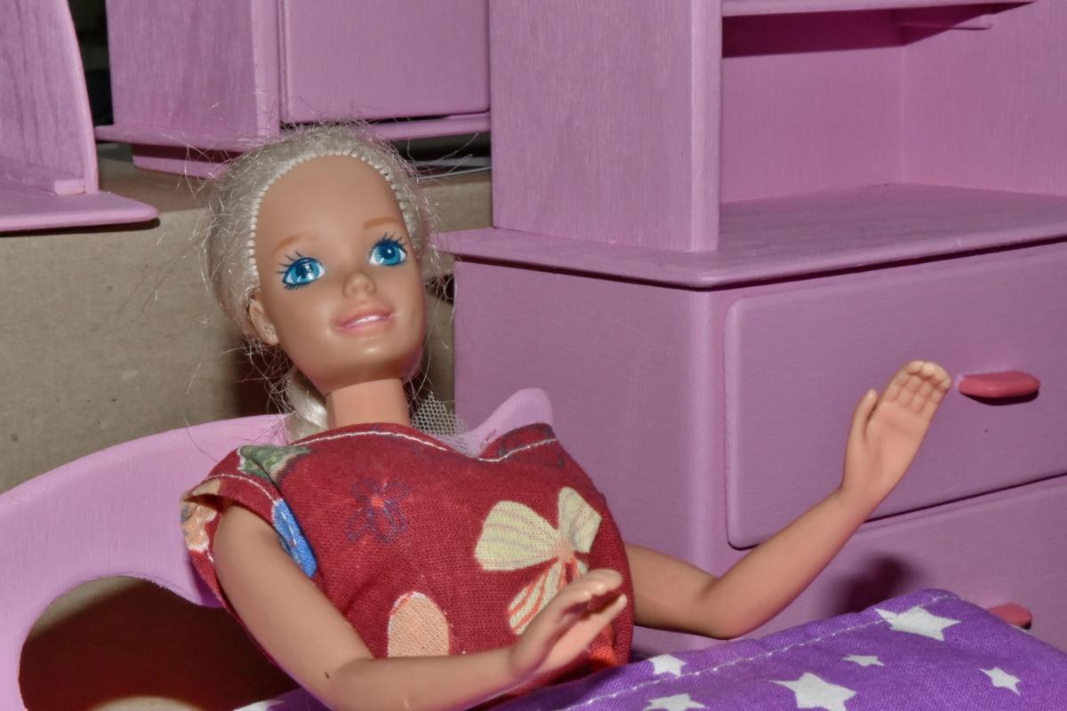 quarto, móveis, feito à mão, rosado, brinquedos, menina, pessoas, boneca, quarto, dentro de casa