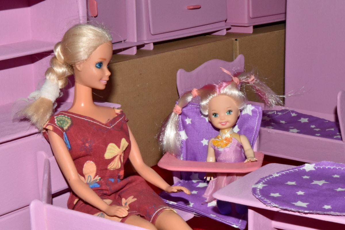 가족, 부모, 장난, 장난감, 장난감, 실내, 아이, 아이, 인형, 소녀