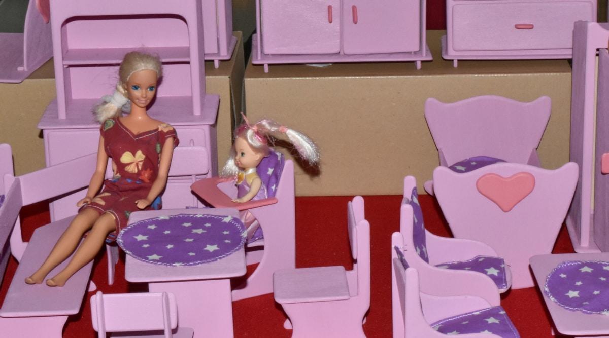rincian, Mebel, buatan tangan, Kamar, mainan, rumah, kursi, wanita, orang-orang, di dalam ruangan