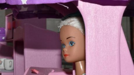 blonde hår, dukke, skygge, mote, jente, stående, søt, unge, avslapning, rom