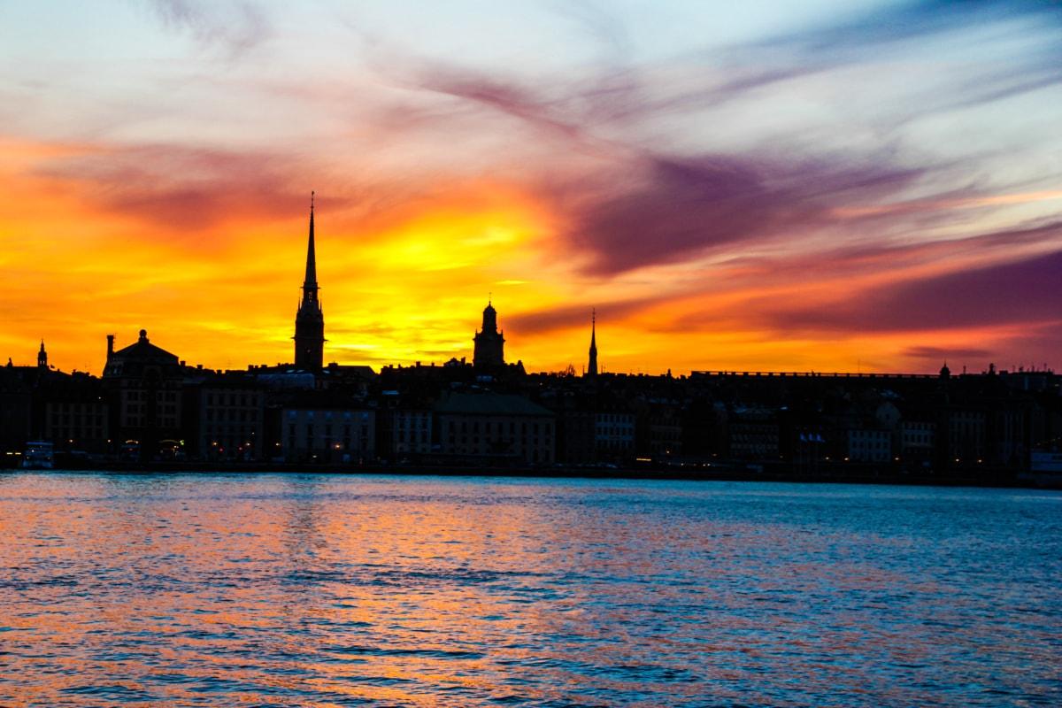 kapitál, tieň, západ slnka, Cestovanie, rieka, voda, mesto, nábreží, svitania, súmraku