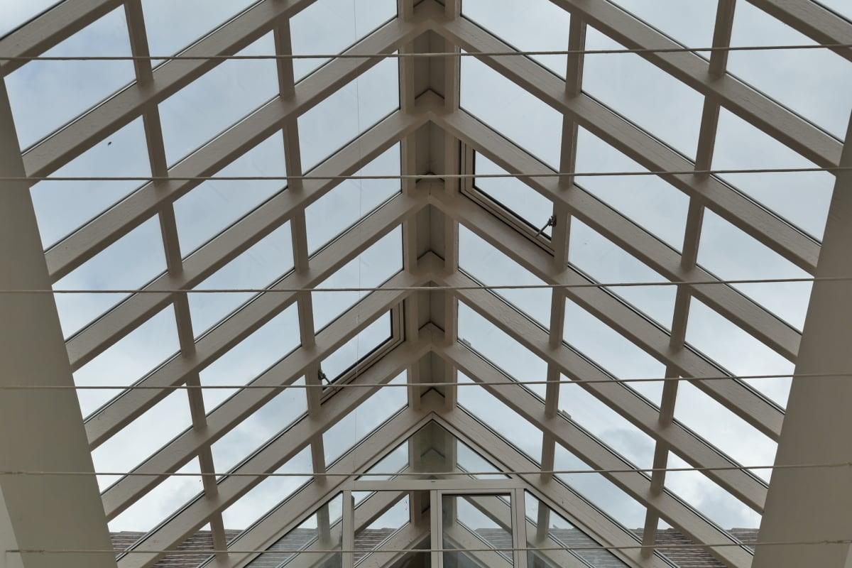 Atrium, soffitto, vetro, tetto, trasparente, creazione di, prospettiva, architettura, geometrica, struttura