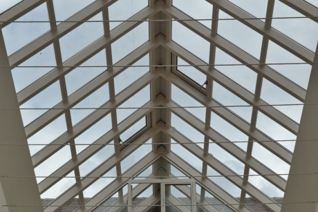 atrium, ceiling, glass, roof, transparent, building, perspective, architecture, geometric, structure