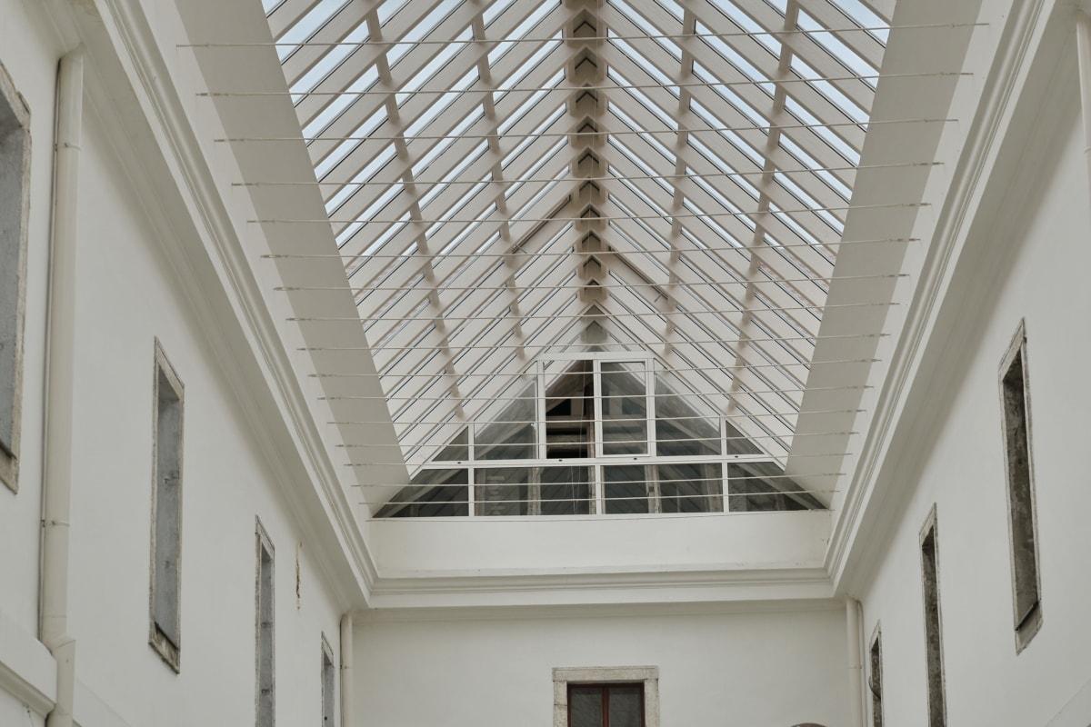 Atrium, di dalam ruangan, kerangka kerja, jendela, arsitektur, bangunan, kontemporer, langit-langit, perspektif, desain interior
