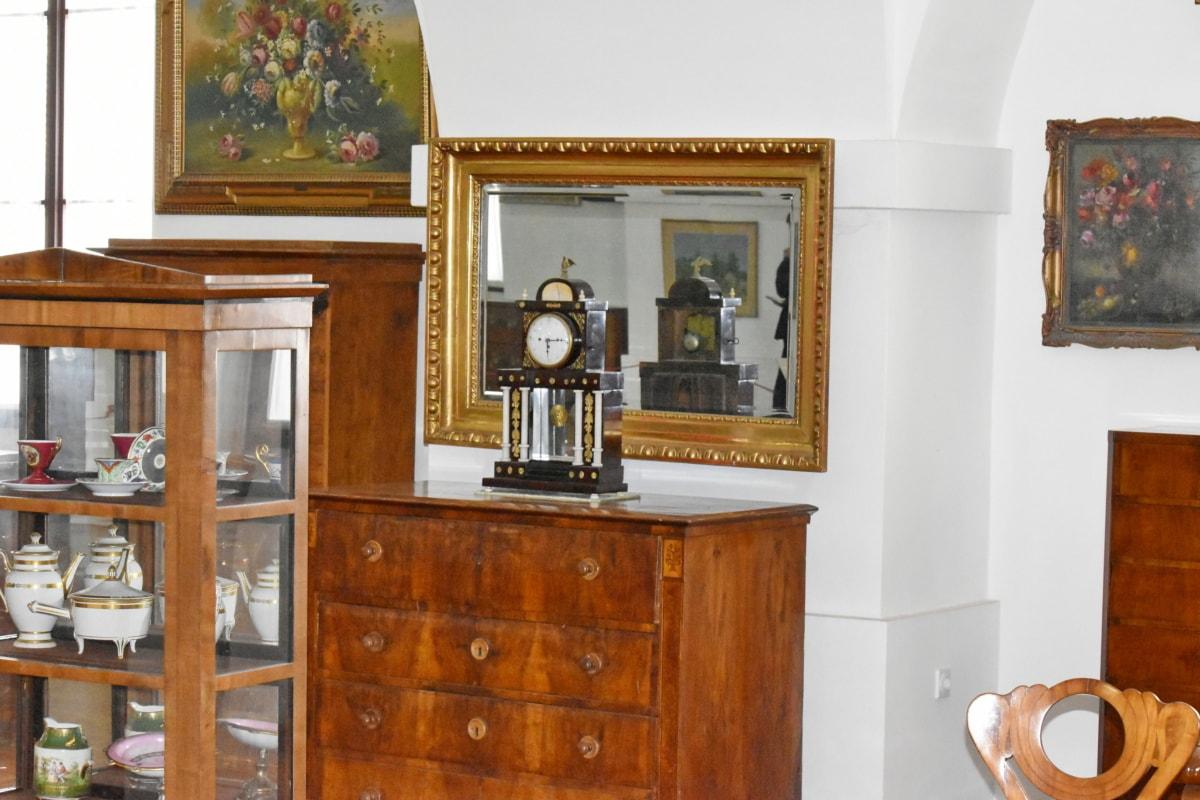 Izba, bufet, interiérový dizajn, interiéri, skrinka, nábytok, dom, zrkadlo, drevo, lampa