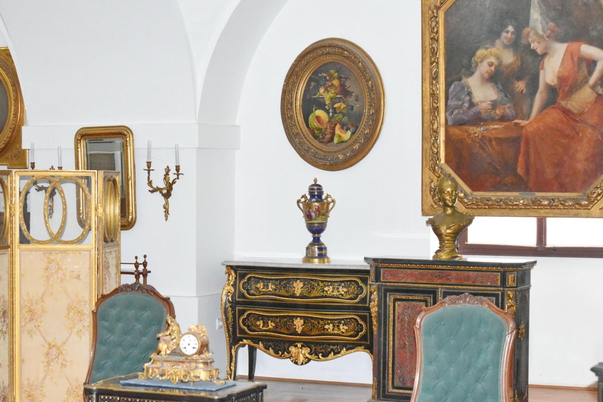 μπαρόκ, Καλών Τεχνών, αντίκα, έπιπλα, εσωτερικό, εσωτερική διακόσμηση, Ζωγραφική, καθρέφτης, Αρχική σελίδα, Δωμάτιο