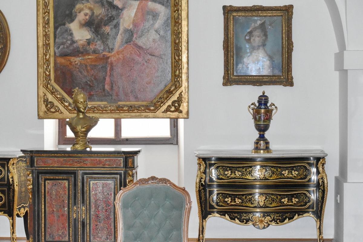 antigüedad, muebles, habitación, diseño de interiores, pintura, asiento, arte, adentro, lujo, Museo