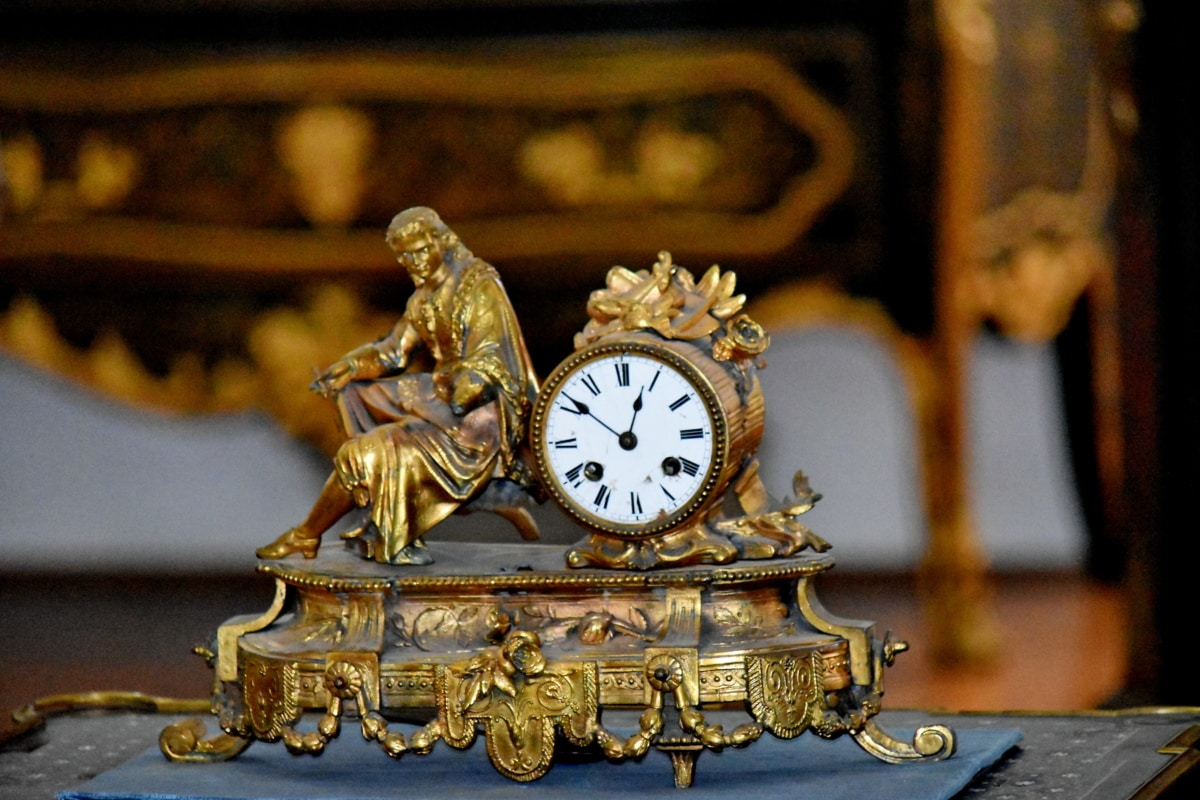 바로크, 황동, 시간, 시계, 아날로그 시계, 계시 기, 골동품, 오래 된, 럭셔리, 장식