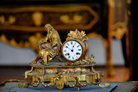 baroque, brass, time, clock, analog clock, timepiece, antique, old, luxury, decoration