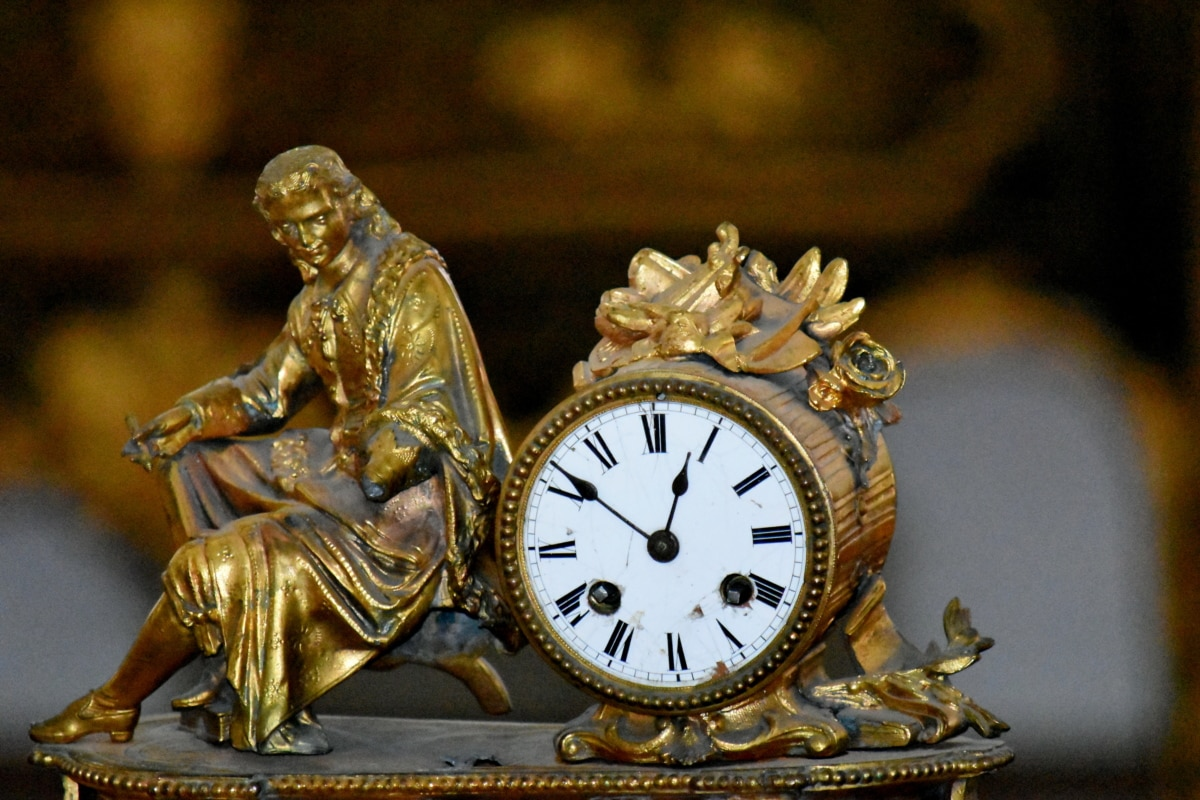analog clock, art, baroque, metal, sculpture, clock, time, antique, statue, old