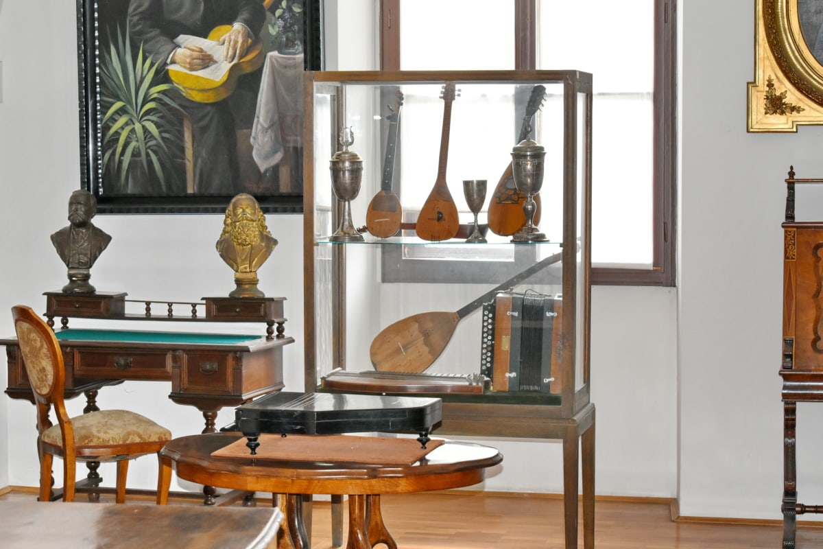 muzeum, pokoj, nábytek, design interiéru, případ, uvnitř, lampa, sídlo, domů, křeslo