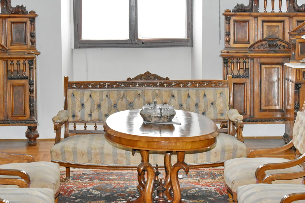 Барок, кабинет, удобни, бюро, жилищни, диван, Домашно огнище, мебели, стол, интериорен дизайн