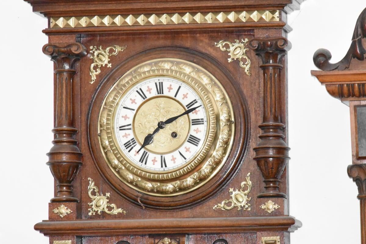 アナログ時計, バロック様式, 手作り, 木製, 時計, 時計, 時間, アンティーク, 分, 古い