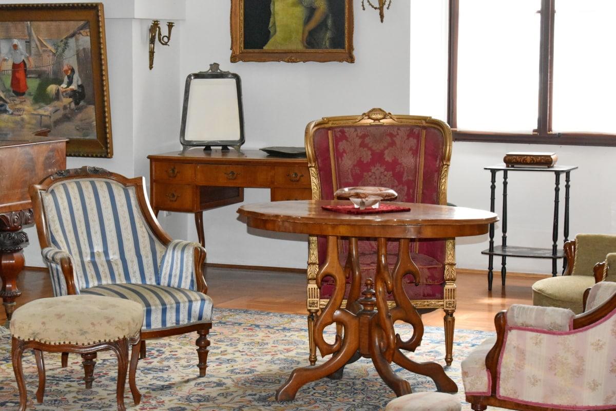 antikken, askebæger, barok, skrivebord, luksus, tæppe, Boligindretning, stol, værelse, sæde